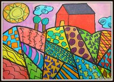 Folk Art Landscape Paintings | Week one: Students created their designs with pencil. Students need at ...