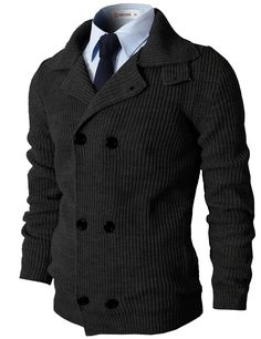 Mens Casual Knitted Slim Fit Double Breasted Cardigan Sweater (KMOCAL025) #doublju