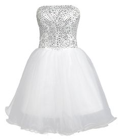 Faironly Crystal White Above Knee Mini Short Prom Dress M9597 at Amazon Women's Clothing store: