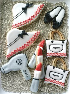 Chevron Girly Cookies {hats, shoes, bags, lipstick, blow dryer}