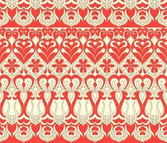 flower_wave_red fabric by holli_zollinger on Spoonflower - custom fabric