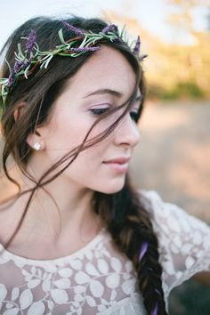 Rustic Lavender Wedding Inspiration photographed by Paige and Blake Photography. Cute Wedding Ideas, Wedding Styles, Wedding Inspiration, Flower Crown Wedding, Wedding Flowers, Hair Flowers, Lace Wedding, Bohemian Hairstyles, Wedding Hairstyles