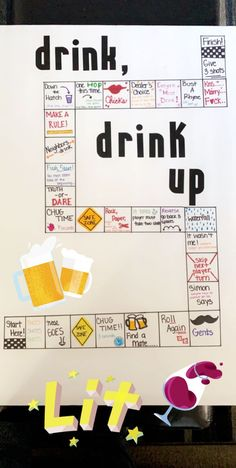 DIY Trinkbrettspiel DIY drinking board game, board game, # Do-it-yourself furnitureHome Drinking Board Games, Drinking Games For Parties, Drinking Party Games, Christmas Drinking Games, Adult Drinking Games, Teen Party Games, Sleepover Games, College Party Games, Girl Sleepover
