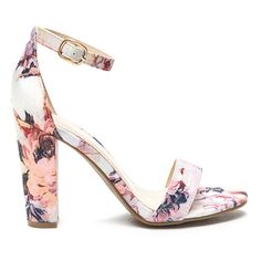 Fine Florals Strappy Chunky Heels ($23) ❤ liked on Polyvore featuring shoes, sandals, pink, open toe sandals, high heel sandals, ankle strap shoes, strappy high heel sandals and pink high heel sandals