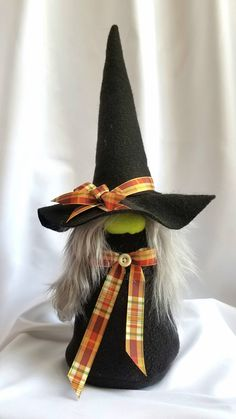 Adorable, hand made with new materials. Felt/fleece fabric stuffed with polyester fiber fill and rice for weighted base. Each gnome is one of a Halloween Socks, Holidays Halloween, Fall Halloween, Halloween Crafts, Halloween Decorations, Halloween Witches, Halloween Prop, Happy Halloween, Christmas Gnome