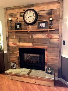 DIY Pallet Fireplace 101 Pallet Ideas - Organize your home decors over bottom and also over the top mantle level and enjoy the rustic version of pallets wood . Pallet Fireplace, Farmhouse Fireplace, Faux Fireplace, Fireplace Remodel, Fireplace Surrounds, Fireplace Design, Fireplace Ideas, Mantel Ideas, Fireplace Pictures