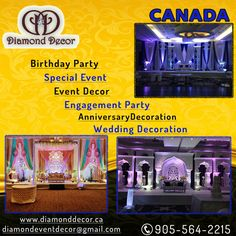 Make your and your family member Birthday party memorable with Diamond Decor. Diamond Decor provides best event decoration services in GTA, Mississauga, Brampton. Call Today and book for your next upcoming event Diamond Decorations, Stage Decorations, Birthday Party Decorations, Party Themes, Wedding Decorations, Birthday Parties, Anniversary Decorations, Anniversary Parties, Wedding Anniversary