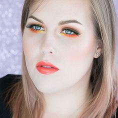 Neon Green & Orange Colorful Makeup Tutorial  http://www.rebeccashoresmua.com/blog/neon-green-orange-colorful-makeup-tutorial