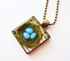 Nest necklace.  Robins nest pendant.  Glass tile by LittleBearsMom