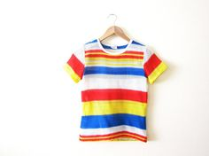 1970s shirt - vintage tshirt - mesh shirt - rainbow stripes - striped shirt - ringer - 70s clothing - small