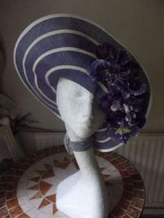 AMAZING #1930s/ #Downton Style Purple #Hat, £40.00 by Not Just Vintage 1: Designed and created by Suzie Mason for vintage drama. Now surplus to the collection.  STUNNING And the only one of its kind. Beautiful floral, lace, and net BIG statement hat: 22/23 inches in the round. Great for wedding, races, occasion, enactment,etc