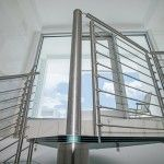 Glass Spiral Staircase - Penthouse in Miami Design District | Bella Stairs Spiral Staircase, Blinds, Miami, Stairs, Curtains, Glass, Modern, Design, Home Decor