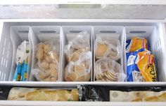 Use plastic bins in a drawer freezer. Make Your Tiny Fridge Feel Twice as Big: 11 Brilliant Hacks