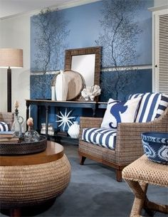 Great design for a coastal living room - sophisticated but just beachy enough