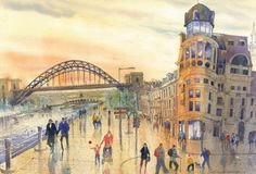 Quayside Afternoon by Roy Francis Kirton.    A summer afternoon on the magnificent Quayside at Newcastle upon Tyne  Signed limited edition mounted print