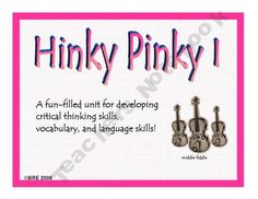 its-about-time--teachers Shop  $2.50   HINKY PINKY I is a fun-filled unit for developing critical thinking skills, vocabulary, and language skills.  Work on HOTS while having tons of fun.