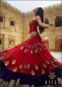 red lehenga w/ antique embroidery KalkiFashion.com