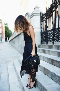 lingerie dress, studded sandals and Phillip Lim bag Blue Lingerie, Lingerie Dress, Lace Dress, Dress Up, Street Style Outfits, Collage Vintage, Mode Inspiration, Fashion Inspiration, Street Chic