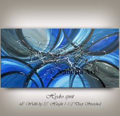 Painting, Abstract Art, Large Wall Art Blue Contemporary Art Original Abstract Painting on Canvas Wall Hanging Home Decor Modern Art Nandita  This abstract painting is an original, high quality 100% hand painted oil/acrylic painting on canvas. All of my large wall art is mounted and ready to hang. This wall hanging will look beautiful as office decor, home decor, in any lobby or building, or even in the bedroom, living room, or childrens room decor…