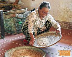 Woman Sorting Grain in Hue Vietnam