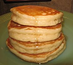 Super thick and fluffy pancake recipe...HOLY CRAP..these are really good! I did halve the vanilla amount though! but it really only make s about 6 four or five inch pancakes