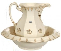 ceramic washbasin and pitcher set - AOL Image Search Results Toilet Accessories, Wash Stand, Ceramic Pitcher, Foot Baths, Amazing Bathrooms, Bowl Set, Cool Kitchens, Cream, Antiques
