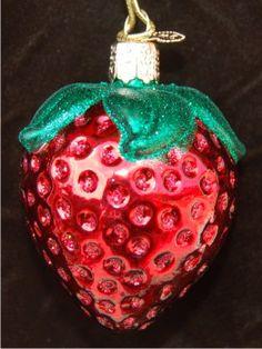 Summer Strawberry Glass Ornament