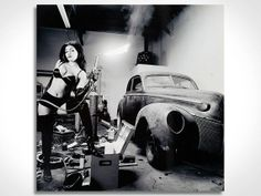 $169 'Torched' is a monochromatic, retro/modern high definition photo print on #steel. The black and white image is one of the photographs from renowned photographer David Perry. One of David's specialties is #creative, #artistic shots of hot rods and pin-up #girls, making this the #perfect wall #art for a #garage or #man #cave. The car-lover, #mechanic, or any guy who likes to get his hands #dirty will #love this sturdy #metal wall panel as an #accent in his domain. #Torched #ModernCrowd