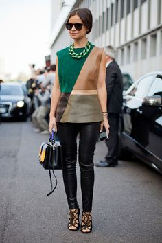 Miroslava Duma keeps leather leggings September-ready with strappy sandals and a color-blocked shell. Read more: Street Style Spring 2013 - Milan Fashion Week Street Style - Harper's BAZAAR Milan Fashion Week Street Style, Spring Street Style, Street Chic, Street Wear, Love Fashion, Spring Fashion, Autumn Fashion, Womens Fashion, Style Fashion
