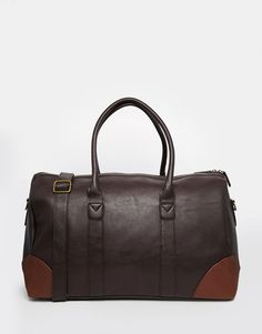 ASOS+Holdall+In+Brown+Faux+Leather+With+Contrast+Trims