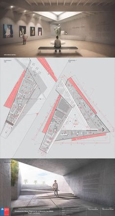 Meet the second place in the contest of the Museum of Memory and Human Rights in Concepción, Chile, Plate Image Courtesy of Team Second Place Museum Architecture, Architecture Board, Architecture Student, Architecture Drawings, Concept Architecture, Amazing Architecture, Architecture Design, Museum Plan, Planer Layout