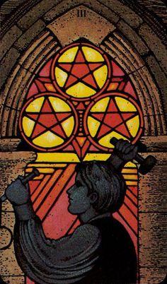 Three of Pentacles - Morgan-Greer Tarot by Bill Greer, Lloyd Morgan