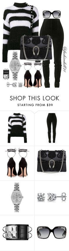 """Stripes"" by fashionkill21 ❤ liked on Polyvore featuring Philosophy di Lorenzo Serafini, Balmain, Valentino, Gucci, Rolex, BERRICLE and Hermès"