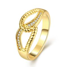 Plated Double Loop Classical Ring, Women's