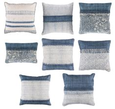 Tribal pattern indigo blue throw pillows for casual lux, coastal, and global boho chic style. Light Blue Throw Pillows, Colorful Throw Pillows, Blue Pillows, Moroccan Floor Pillows, Large Floor Pillows, Memory Pillows, Ideias Diy, Couch, Designer Throw Pillows