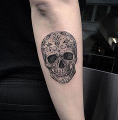 Gray Sugar Skull Tattoo