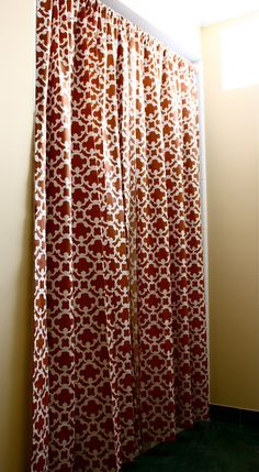 """The Yellow Cape Cod: Makeover Target Style~No-Sew Custom Shower Curtain Trick // 84"""" window drapery panels -- taller and fuller than a typical of-the-shelf shower curtain."""