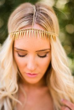 Bohemian headbands from turbands to head chains shop cute + bohemian headbands from Three Bird Nest like this boho chic gold spike head chain. Three Bird Nest | Bohemian Clothing