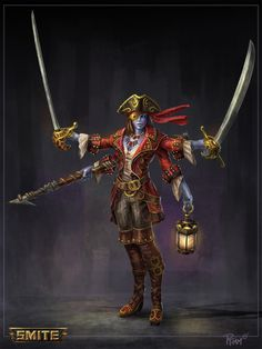 Smite Kali Pirate Concept, Andy Timm on ArtStation at https://www.artstation.com/artwork/smite-kali-pirate-concept