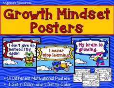 Are you looking for some exciting and motivational posters to decorate your classroom?   •Motivate your students with these powerful Growth Mindset posters!  •