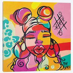 Diy Canvas Art, Canvas Artwork, Canvas Art Prints, Painting Prints, Art Paintings, Art Painting Gallery, Painting Of Girl, Colorful Drawings, Art Drawings