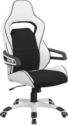 High Back White Vinyl Executive Swivel Office Chair with Black Fabric Inserts. The contemporary computer chair will give you the comfort needed to get through the work day in style. This chair features wrap around arms and fabric inserts in the seat and back that are soft to the touch. Finding a comfortable chair is essential when sitting for long periods at a time. Having the support of an ergonomic office chair may help promote good posture and reduce future back problems or pain. High…
