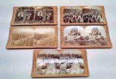 5 Vtg Keystone Stereoview Cards WW1 Battleship Oregon President McKinley & Wife