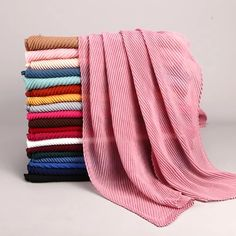 Over Size Women Wrinkle Crinkle Bubble Cotton Scarf Muslim Hijab Scarf Turban Head Wrap Solid Color Pleated Scarves Fabric Photography, Clothing Photography, Classy Photography, Product Photography, Pamela, Pleated Maxi, Scarf Design, Modest Dresses, Modest Clothing