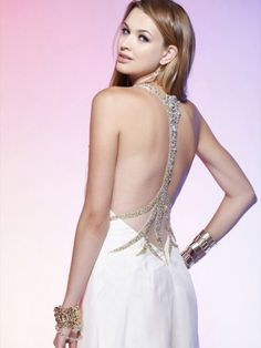 2012 Style Sheath / Column V-neck  Beading  Sleeveless Floor-length Chiffon White Prom Dress / Evening Dress
