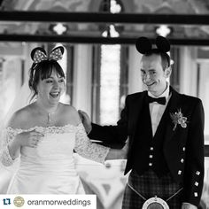#Repost @oranmorweddings with @repostapp.  How adorable are Rachael and Liam??!  @juliebeephoto #oranmor #oranmorwedding #disneywedding #scottishwedding #mickeyandminnie