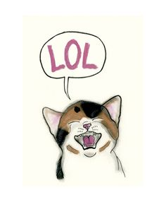 The otiginal design of this funny LOL cat art was created by matouenpeluche on Etsy. Tabby cat Funny cat art drawing  LOL  4 X 6 by matouenpeluche
