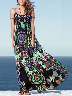 Spaghetti Strap Bohemian Printed Maxi Dresses – jollyluva maxi skirt outfits fall dress maxi style a maxi skirt summer dresses maxi cute maxi dress style maxi dress long maxi Vestido Maxi Floral, Vestido Casual, Maxi Dress With Sleeves, The Dress, Dress Straps, Half Sleeves, Dress Skirt, Ethnic Fashion, Boho Fashion