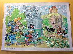 """Donald Duck - Original illustration in colour - """"Paperopoli - Catawiki A Hat In Time, Illustrations And Posters, Disney Art, Donald Duck, Bird, The Originals, Painting, Color, Illustrations Posters"""