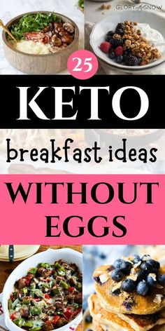 Keto breakfast no eggs: 25 easy keto breakfast without eggs recipes! keto breakfast on the go | keto breakfast recipes | keto breakfast ideas no eggs | keto breakfast muffins | easy keto breakfast | keto breakfast smoothie | keto breakfast shake | keto breakfast for beginners | keto diet recipes | low carb breakfast without eggs | quick keto breakfast | egg-free keto breakfast | keto bagels | keto granola | ketosis | ketogenic diet Breakfast Ideas Without Eggs, Quick Keto Breakfast, Keto Breakfast Smoothie, Breakfast Bowls, Breakfast Muffins, Breakfast Recipes, Low Carb Granola, Low Carb Recipes, Healthy Recipes